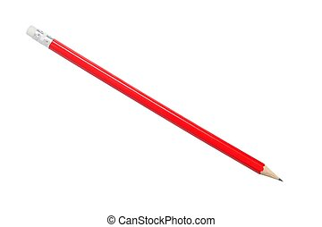Red pencil on white - Red pencil isolated on white...
