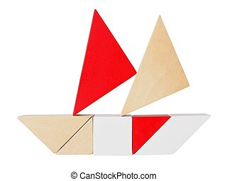 Tangram puzzle on white - Boat silhouette made from tangram...