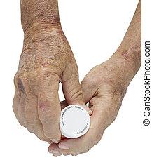 anciano, macho, mano, artritis, tenencia, píldoras,...