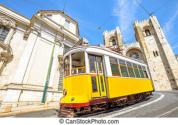 Historic tram and Lisbon Cathedral