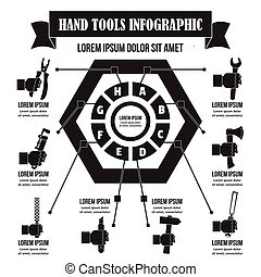 Hand tool infographic, simple style - Hand tool infographic...