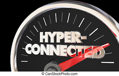 Hyperconnected Level Speedometer Connecting Digital Communication 3d Illustration