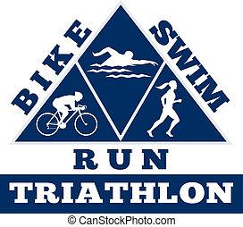 triatlón, Nade, bicicleta, Corra, carrera