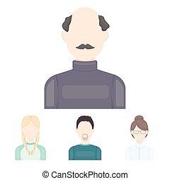 A man with a beard, a businesswoman, a pigtail girl, a bald...
