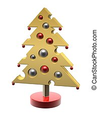 cheese Christmas tree with gift ball isolated on white...