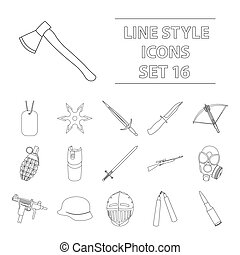 Weapon set icons in outline style. Big collection weapon...