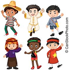 Boys from different countries illustration