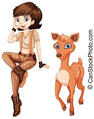 Cute girl with little fawn illustration