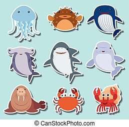 Sea animals on blue background illustration