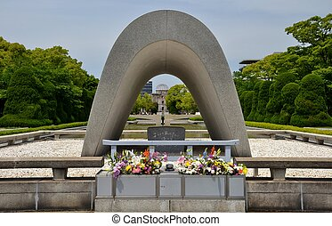 The Cenotaph at the Hiroshima Peace Memorial Park - The...