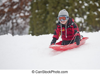 Little boy sledding. - A young boy shows his excitement...