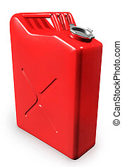 Gas Can - Red gas can, gasoline canister isolated on white...