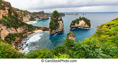 Nusa Penida island sea coast view - Sea coast view with...