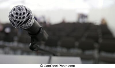 Microphone on stage in auditorium waiting for performances,...