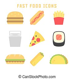 fast food icons - Fast food icons in flat style for your...