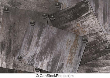 Sheet iron with rivets