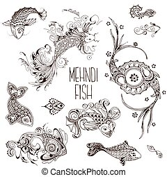 mehendi fish pattern - Fish drawn in the mehendi style....