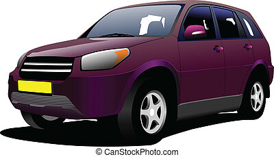 Purple mini-van on the road. Vecto