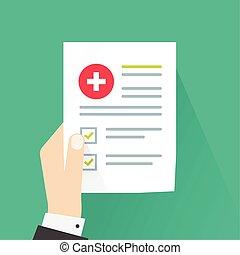 Medical results vector illustration, flat cartoon paper...