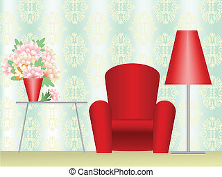 homeliness - red chair with a floor lamp and a coffee table...