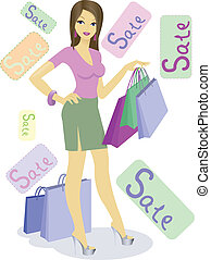 Girl on sale - beautiful girl with shopping bags on sale