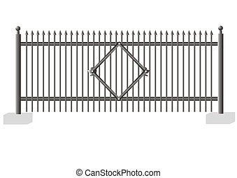 2 Fence versions - Site of a fence from metal and concrete...