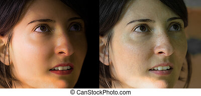 Face of beautiful Caucasian young brunette woman before and after retouch