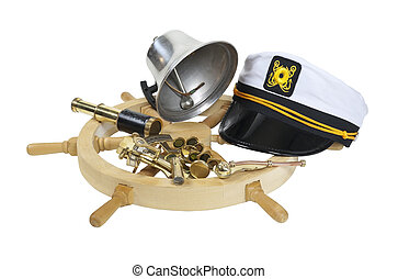 Nautical Supplies - Nautical supplies including ship wheel,...