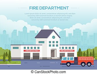 Fire department - modern vector illustration with place for text