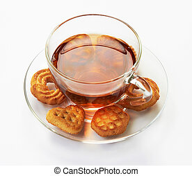 Cup of hot tea with cookies