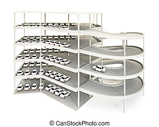 Parking Garage - 3d illustration of multilevel parking...
