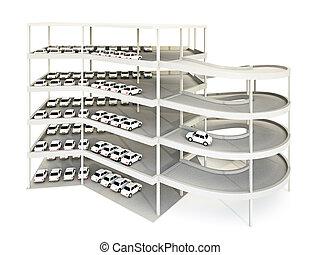 Parking Garage - 3d illustration of multilevel parking...