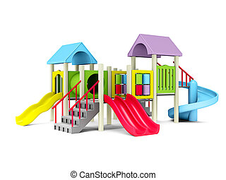 playground - 3D Illustration of motley playground on white...