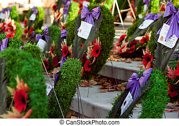 wreaths 4 - close up photo of wreath on remembrance day