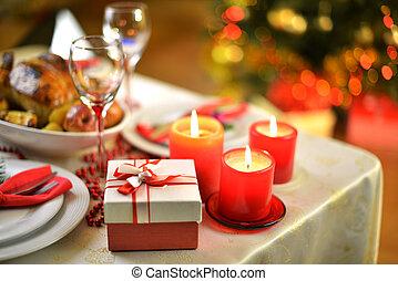 Christmas dinner - rich table setting for Christmas dinner