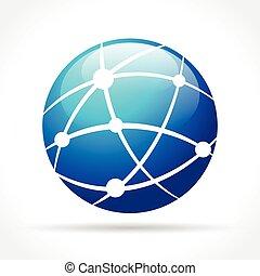 blue globe icon concept