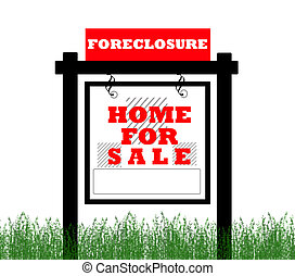 Real Estate home for sale sign, foreclosure