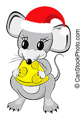 Little Mouse with Cheese - Little mouse cartoon character in...