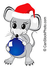 Little Mouse Holding Christmas Bauble - Little mouse cartoon...