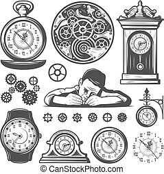 Vintage Monochrome Clocks Repair Elements Set - Vintage...