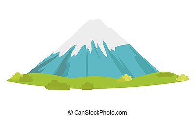 Snowy Mountain with Green Meadow at Foot Vector -...
