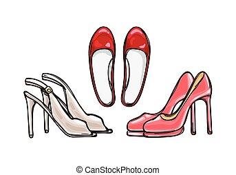 Three Pairs of Heel Shoes. Fashionable Footwear