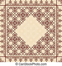 vector quadratic background with vintage ornament