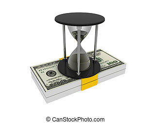 Hourglass and money on white background. business time...