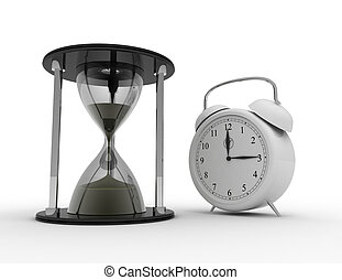 Hourglass and alarm ckock on white background. business time...
