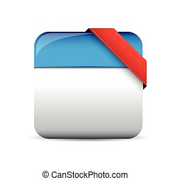 Empty button with red corner ribbon