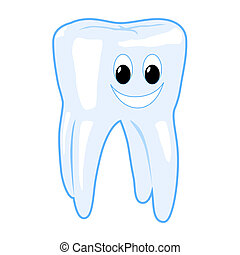 Tooth - Smiling healthy tooth vector illustration isolated...