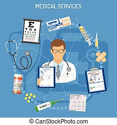 Medical Services Concept with flat icons doctor,...
