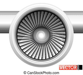 Turbines of an aircraft engine in a gondola. Front view of the compressor. Air inlet. Traced engine parts and part of the wing.
