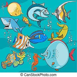 fish cartoon characters group - Cartoon Illustrations of...